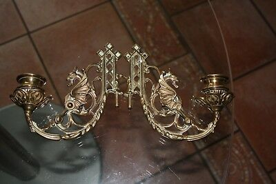Antique Victorian pair of brass Gothic piano candlestick excellent Steampunk?