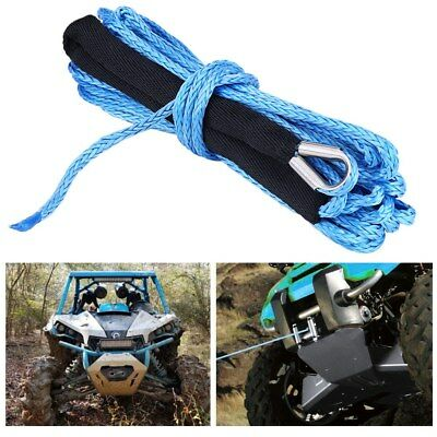 """1/4"""" 49' Synthetic Winch Rope Line Cable with Protective Sleeve 6600 lbs for Car"""