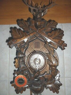 German 8 day Black Forest Hunters Cuckoo clock Large Hand Carved - New/Tags on