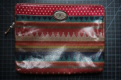 Fossil Authentic Key-Per Hand Bag Coated Tribal, Multi Color, Red Pattern Womens