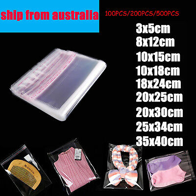 Self Adhesive Clear Cellophane Resealable Plastic Packaging Bags 12 sizes 100pcs