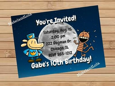 Dogman Custom Birthday Party Invitation Themed Invite Digital Dog Man and Petey