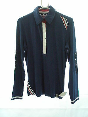 HKM Pro Team Long Sleeve Riding Polo Shirt - Navy Or Red