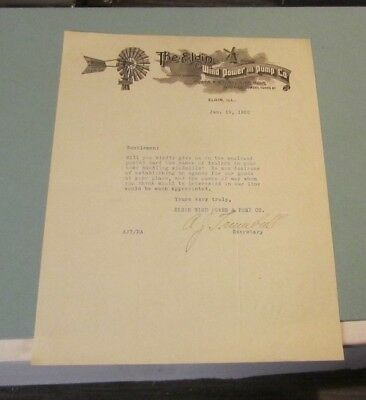 1920 The Elgin Wind Power and Pump Co. Signed Advertising Letter Elgin Illinois