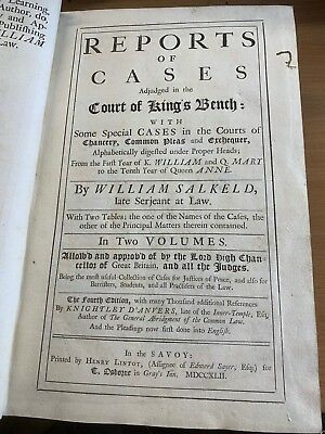 1742 Antique Law Reports Of Cases In Court Kings Bench Large Heavy Leather Book
