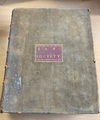 "1771 Antique Law Society ""the Statutes At Large"" Large Heavy Suede Leather Book"