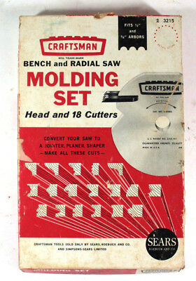 Vintage Craftsman Radial Arm Saw Molding Set Cat # 9-3215 and 18 Cutting Blades