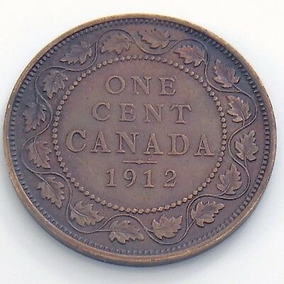 1912 Canada 1 One Large Cent Penny Circulated Canadian Copper Coin H951