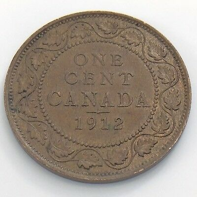 1912 Canada 1 One Large Cent Penny Circulated Canadian Copper Coin H954