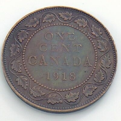 1918 Canada 1 One Large Cent Penny Circulated Canadian Copper Coin H955