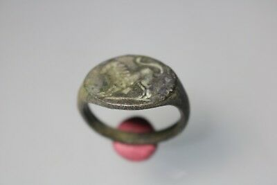 Ancient Fantastic Roman Bronze Ring with Lion  1st - 4th century AD
