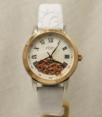 60a12a1d7baf Rotary LS03732 06 Ladies Floral Design Skeleton Leather Strap Watch RRP £195