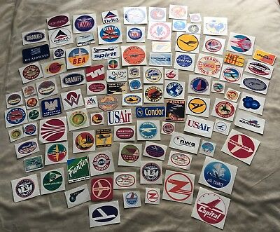 VINTAGE AND INTERNATIONAL AIRLINE STICKERS (32 stickers)