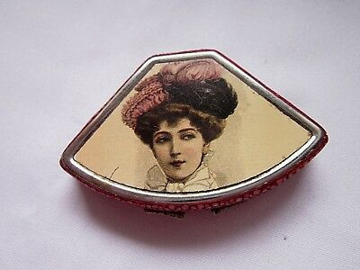 Vintage Art Deco pill tin with pink shagrin & printed top