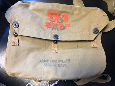 Old Vtg Collectible US Army Lightweight Service Mask Green Canvas Bag  Lot JI-10