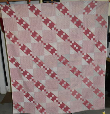 Antique Jacob's Ladder Quilt in Shades of Pink, Twin Size, Hand Quilted  #18457