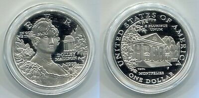 """1 Dollar USA 1999 P Silber Proof """"Dolly Madison"""" in Kapsel"""