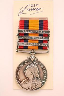 Qsa Queens South Africa Medal 3 Bar Orange Free Cape Colony Transvaal Boer War G