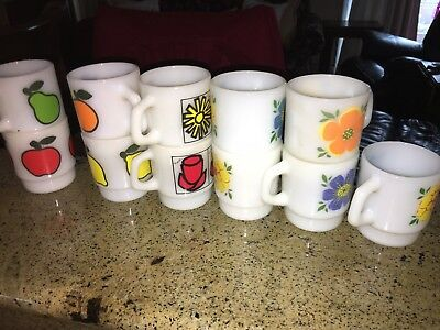 Fire King Set Of 11 Vintage Coffee Mugs - Flowers And Fruits