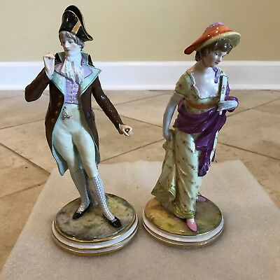 Pair of Antique Meissen Porcelain Gentleman & Lady Couple Figurines M134 & M133