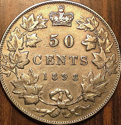 1898 CANADA SILVER 50 CENTS FIFTY CENTS HALF DOLLAR - Cleaned