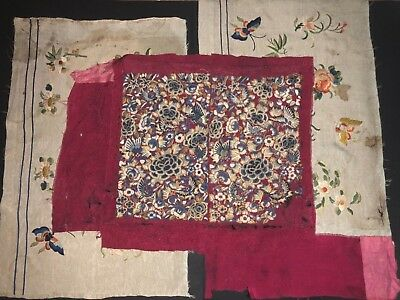3 Fine Antique Chinese Hand Embroidered Silk Embroidery Forbidden Stitch Panels