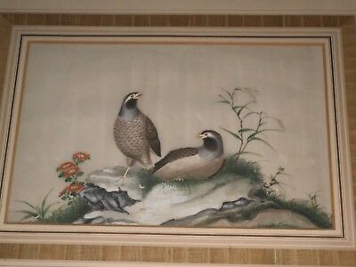 Fine Antique Chinese Watercolor Painting Pith Rice Paper Quails Birds Framed