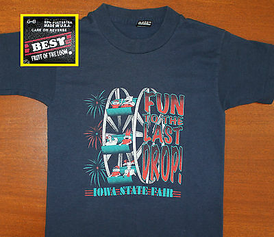 Iowa State Fair vintage youth t-shirt navy blue 6-8 Best Fruit of the Loom 90s