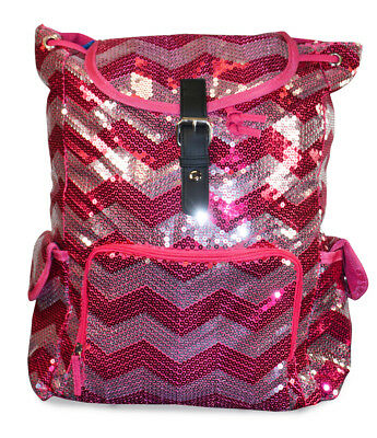 Womens Ladies Teens Sequin Glitter Fashion Backpack Sequence Bag Chevron Pink