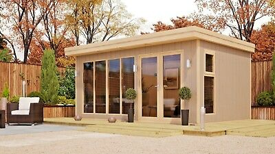 5m x 3m Insulated Garden Office Pod Log Cabin Annex Studio Man Cave Summerhouse