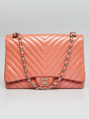 f325f8151b112a Chanel Pink Chevron Quilted Patent Leather Classic Single Maxi Flap Bag