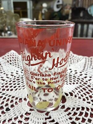 1950s Indiana University Fightin Hoosiers Football Glass Hail To Old I.U. NR