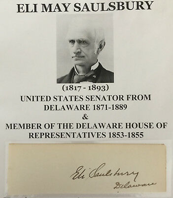 1870s US SENATOR DELAWARE Mispillion Hundred Dover Kent County AUTOGRAPH SIGNED!