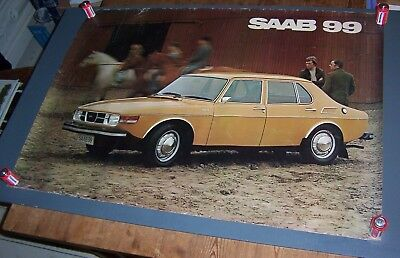 Original Large Vintage Quad SAAB 99 GL Showroom Dealership Poster 1970's.
