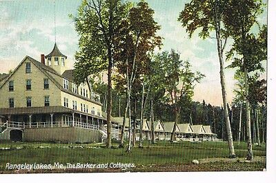 PRE-LINEN Postcard     THE BARKER AND COTTAGES  -  RANGELEY LAKES, ME