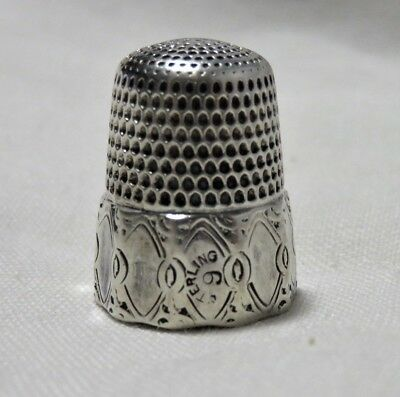 Antique Simons Sterling Silver Paneled Thimble Size 9