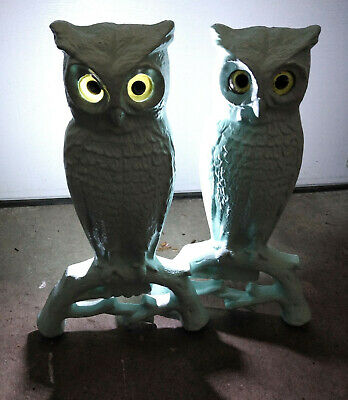 "Cast Iron Owl Andirons 15"" hand blown glass eyes Mid Century Modern 1955 catalog"