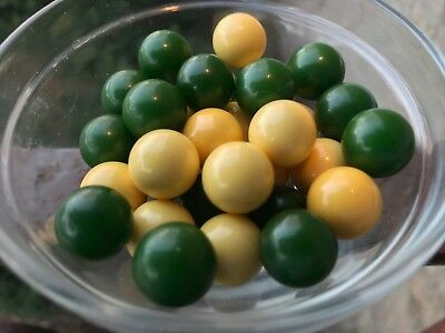 Year-end Clean-out 30 Bakelite 14mm Cream and Green Loose Beads No Holes