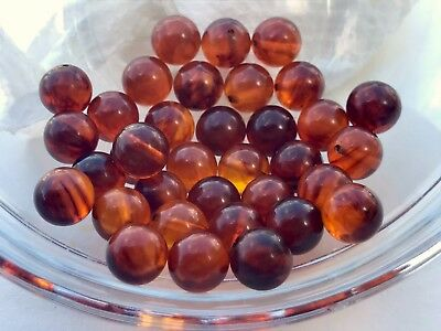 Year-end Clean-out 30 Bakelite 9 mm Root Beer Swirled Loose Beads With Holes