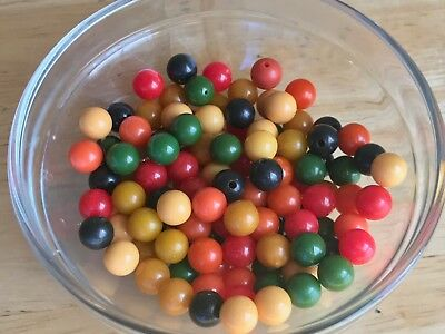 60  Bakelite 7mm Green, Hot Pink, Cream, Yellow, Black And Pink Beads With Holes