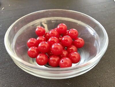 26 Bakelite 11mm True Red Beads With Holes