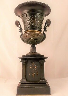 Patinated Bronze Greek Revival Style Urn On Black Marble Stand Antique c 1870