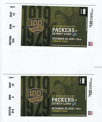 2 tickets Green Bay Packers VS Detroit Lions Dec.30, 2018 at Lambeau FACE $244