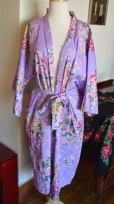 Vintage Purple Floral Authentic Japanese Kimono with Gold Accent One Size