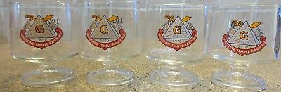 (4) 1970 Palestine Temple AAONMS Free Masons Stemed Rock Glass