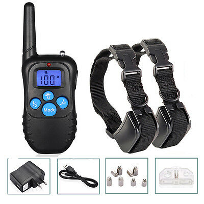 Rechargeable Waterproof Electric LCD Remote 2 Dog Shock Training Collar 330 Yard