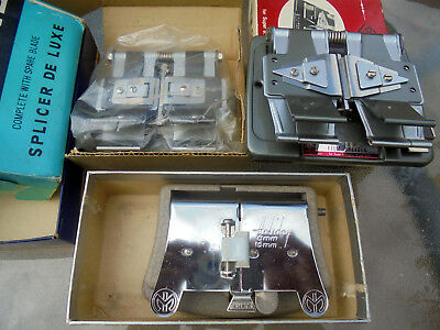 3 Rare Vintage Cine Film Joiner Splicers 8mm/16mm Mansfield Pyramid and Diamond