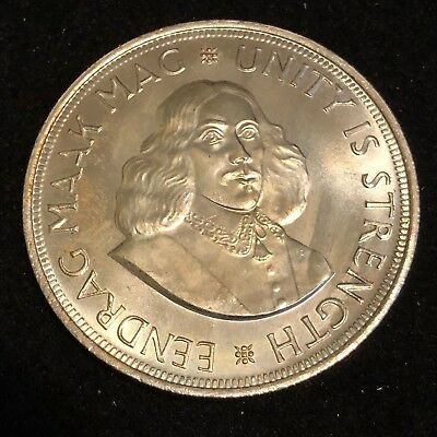 1962 SOUTH AFRICA Cape Town Founding 50 Cents Crown Size Silver Coin GEM!!