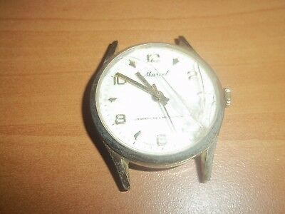 MENS VINTAGE SWISS MADE MARCEL WATCH TIME DAY DRESS WATCH Wind Up RUNS!!!