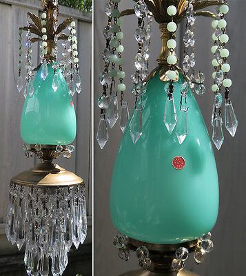 Murano chandelier Ceiling lamp Jade Opaline Glass Brass tole crystal Vintage 1o2